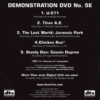 DTS Demonstration DVD No.5 Limited edition