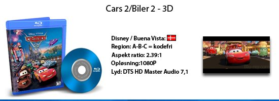 Cars 2/Biler 2 - 3D blu-ray