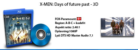 X-men: Days of future past 3D blu-ray