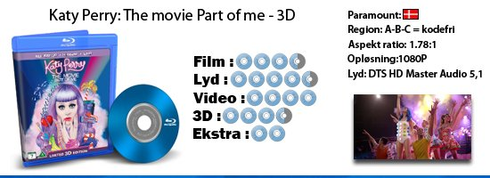 Katy Perry: The movie Part of me 3D blu-ray