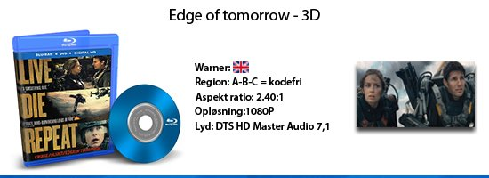 Edge of tomorrow 3D blu-ray