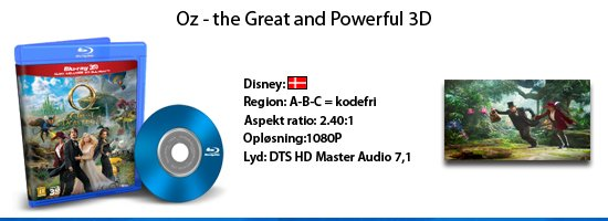 OZ The Great And Powerful 3D blu-ray